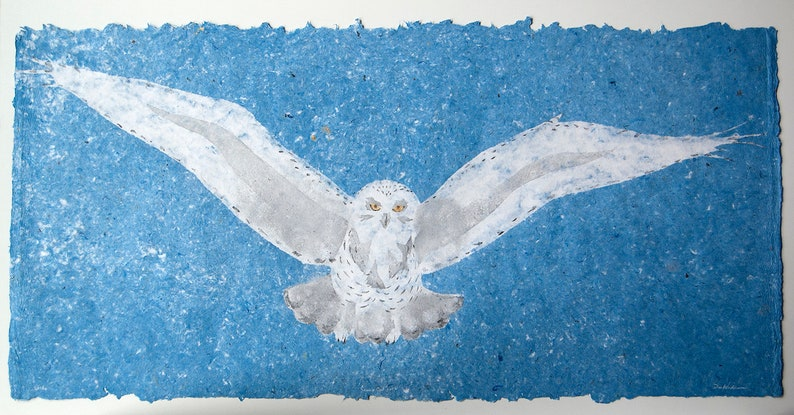 Snowy Owl No. 6  pulp painting on handmade paper 2018 Item image 0