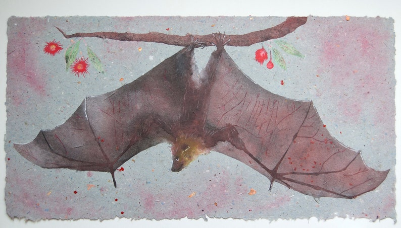 Flying Fox No. 2  pulp painting on handmade paper 2020 image 0