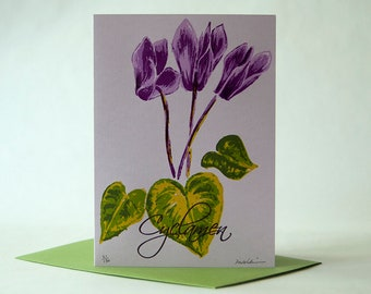 Hearts and Flowers – Cyclamen – 7 Color Letterpress Printed Card, Limited Edition, Blank (Item No. 269)
