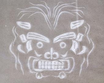 Transformation Mask: Handmade Cotton Paper with Watermark of Northwest Coast Bakwas Mask, Item No. 231