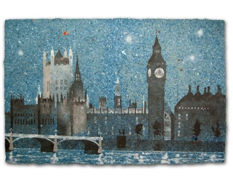 Straight on 'til Morning No. 2 (Palace of Westminster, London): Handmade Pigmented Paper with Pulp Painting (2021), Item no. 338.02