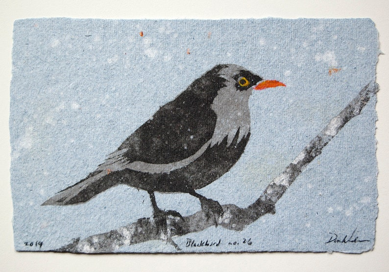 Blackbird no. 26  pulp painting on handmade paper 2019 image 0