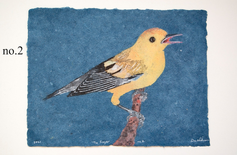 The Singer Prothonotary Warbler  bird pulp painting on 2