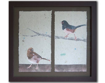 Pair of Towhees No.3 (2020), framed (Male and Female Eastern Towhee, Rufous-Sided Towhee) - bird pulp painting on handmade paper, no. 327.03