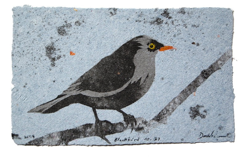 Blackbird no. 27  pulp painting on handmade paper 2019 image 0
