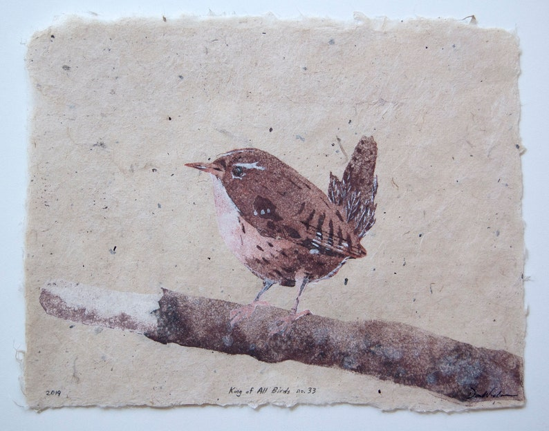 King of All Birds No. 33  Eurasian Wren  pulp painting on image 0