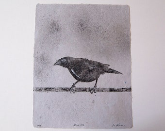 Wired No. 202 – pulp painting of crow on handmade cotton / abaca paper (2018), Item No. 244.202