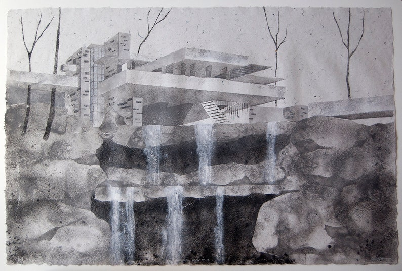 Falling Water No. 10 inspired by Frank Lloyd Wright image 0
