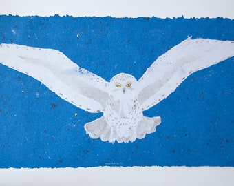 Snowy Owl No. 3 – pulp painting on handmade abaca/cotton paper (2018), Item No. 267.03