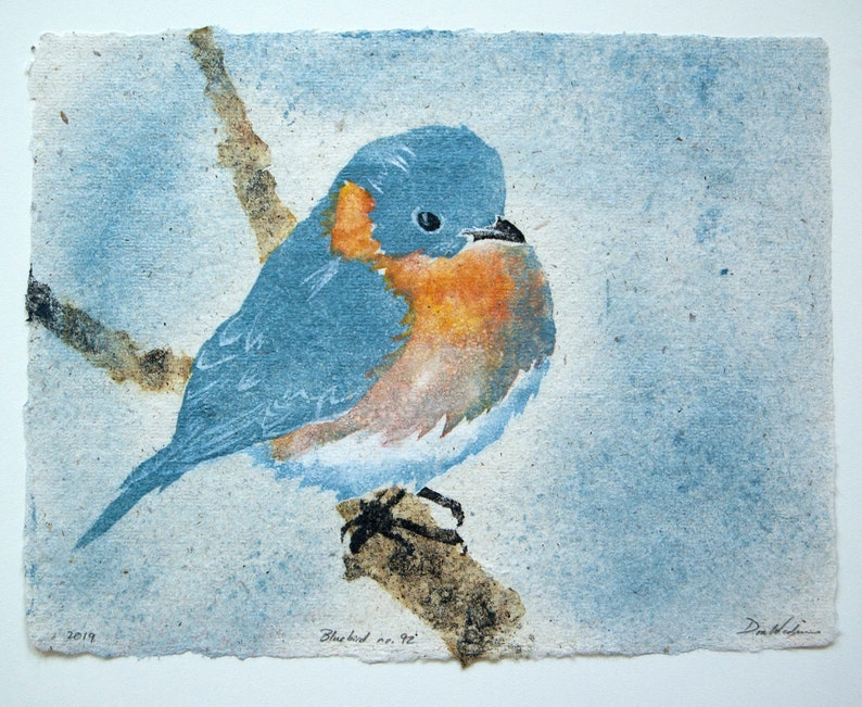 Bluebird No. 92  pulp painting on handmade paper 2019 Item image 0