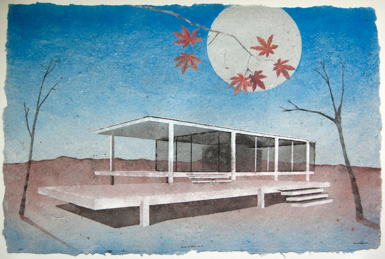 House of Glass No.1 Farnsworth House: pulp painting on image 0