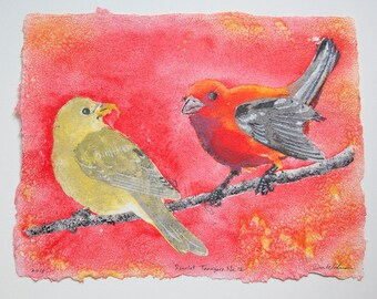 Scarlet Tanagers No. 12 – pulp painting on handmade cotton rag paper (2018), Item No. 266.12