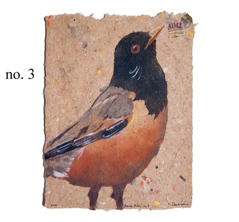 Proud Robin American robin  bird pulp painting on handmade 3