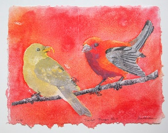 Scarlet Tanagers No. 11 – pulp painting on handmade cotton rag paper (2018), Item No. 266.11
