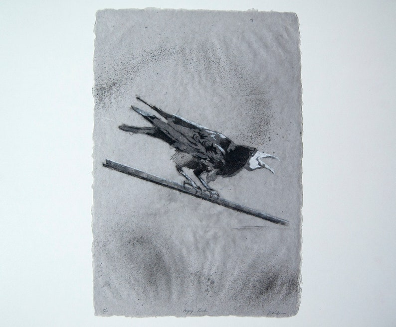 Angry Rook No. 4  pulp painting on handmade paper 2015 image 0