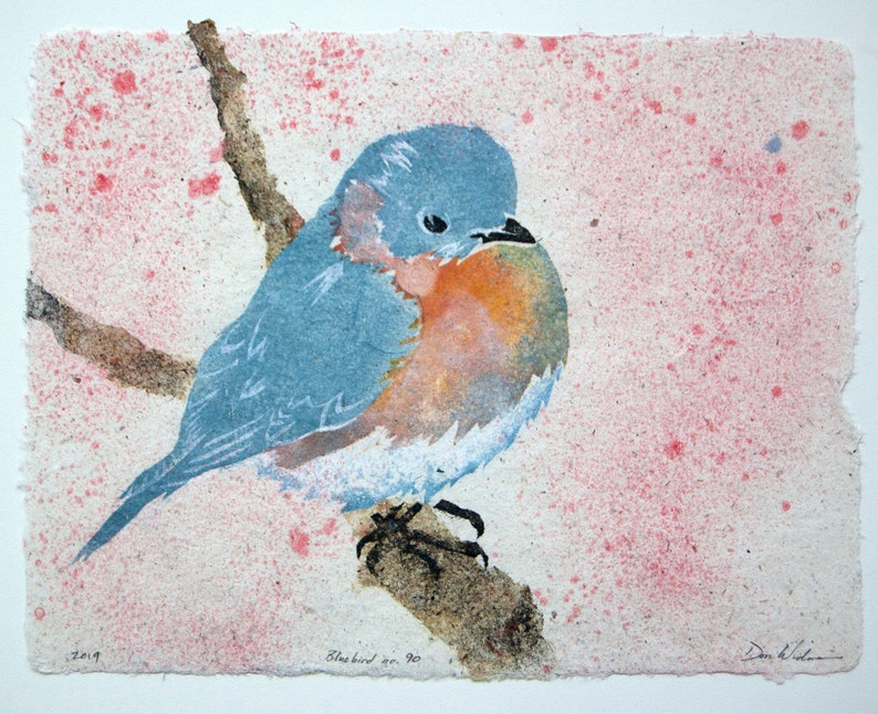 Bluebird No. 90  pulp painting on handmade paper 2019 Item image 0