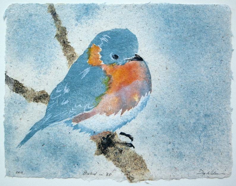 Bluebird No. 88  pulp painting on handmade paper 2019 Item image 0
