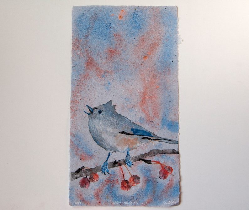 Little White Lie No. 3  Tufted Titmouse  pulp painting on image 0