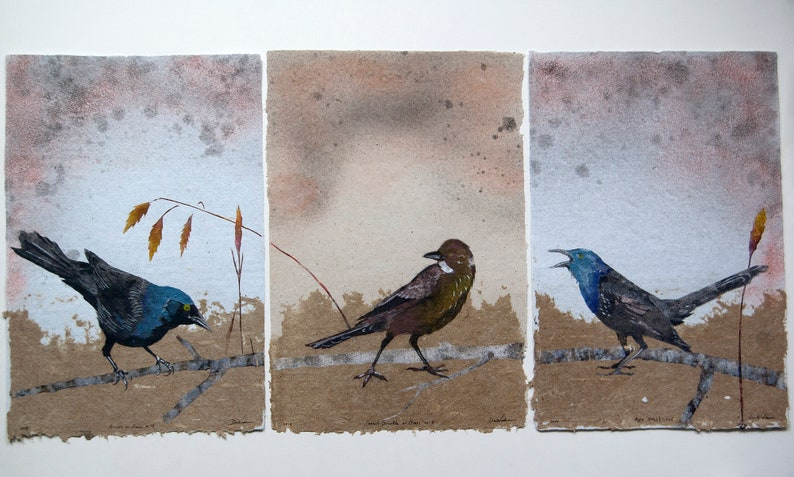 Plague of Grackles No. 8  triptych pulp painting on handmade image 0