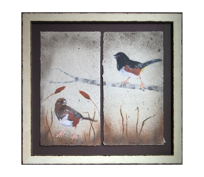 Pair of Towhees No.5 2020 framed Male and Female Eastern image 0