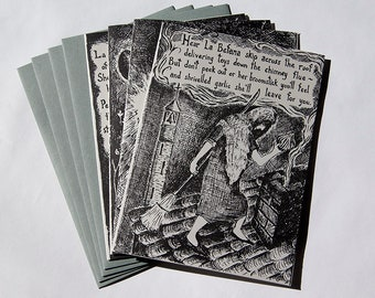 La Befana the Italian Christmas Witch – Set of Four Letterpress Printed Cards, Limited Edition – Original Poem by Don Widmer (Item No. 263)