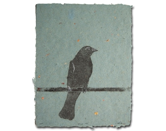 Wired, Set of 5 – handmade paper pulp paintings of crows on a wire (2021), Item No. 244.464-468