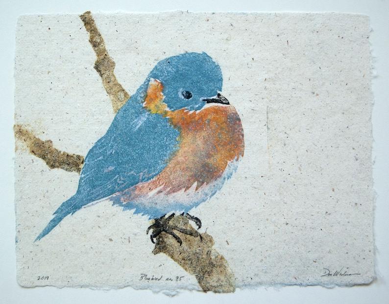 Bluebird No. 95  pulp painting on handmade paper 2019 Item image 0