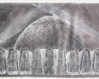 Domes No. 1 (Mitchell Park Conservatory, Milwaukee): triptych pulp painting on handmade abaca / cotton paper (2017), Item No. 262.01