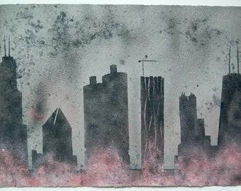 Chicago Skyline No.55: pulp painting on handmade paper (2019), Item No. 147.55