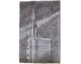 Chicago Temple No. 1 (First United Methodist Church of Chicago): pulp painting on handmade hemp / cotton paper (2018), Item No. 272.01