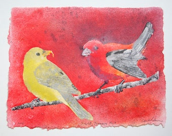 Scarlet Tanagers No. 9 – pulp painting on handmade cotton rag paper (2018), Item No. 266.09