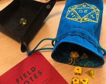 Dice Bag, Blue with Yellow D20, perfect for Tabletop RPG gamer gift