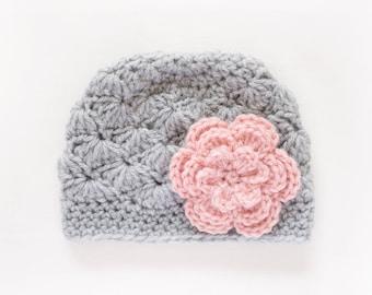 Girls Hat / Newborn Girl Hat / Crochet Baby Hat / Girls Winter Hat / Girls Beanie / Baby Girl Hat / Baby Shower Gift Girl / Hats For Girls