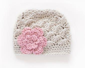 Newborn Girl Hat / Crochet Girls Hat / Girls Winter Hat / Hats For Girls / Baby Girl Hat / Baby Shower Gift Girl / Girls Beanie / Girls Hat