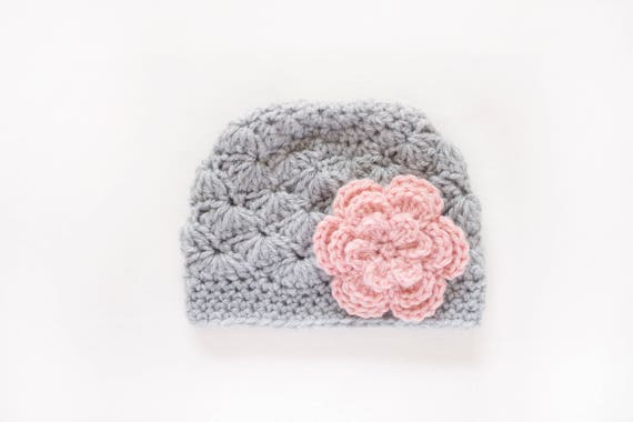 db341f3bd90 Girls Hat   Newborn Girl Hat   Crochet Baby Hat   Girls Winter