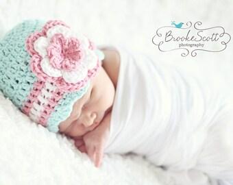 Baby Girl Hat / Newborn Girl Hat / Crochet Girls Hat / Baby Beanie / Crochet Baby Hat / Baby Shower Gift Girl / Girls Hat / Hat For Girls