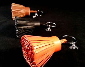 Lotus Lambskin Leather Tassel Keychain Purse Charm