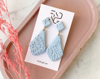 Lacey Pastel Blue Statement Earrings | handmade polymer clay | stainless steel