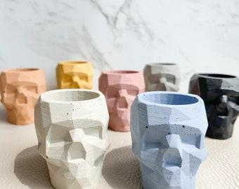 Concrete Geometric Skull pot - 8 Colours | Abstract | Modern | Fun