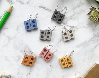 Concrete Cinder Block Earrings (7 colour choices) | Modern | Minimal | Gift| Unique | Concrete