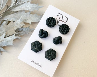 Cute Jet Black and Speckled Gold Stud Earring pack | handmade polymer clay | stainless steel