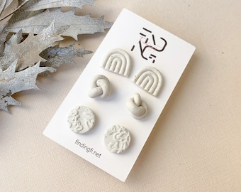 Cute Speckled White Stud Earring pack | handmade polymer clay | stainless steel
