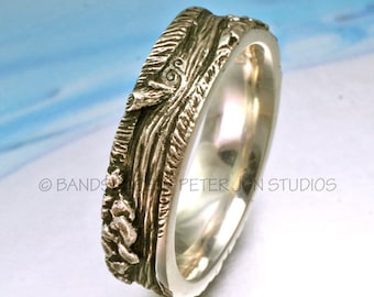 fe6cec3b3 WILD RIVER BAND Sterling Silver, Flowing River Wedding Band, Wild and  Scenic River, The Headwaters, River Bed Ring