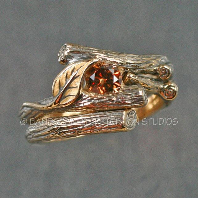 6aede9000194 Oro y diamante de canela KIJANI boda Set anillo de compromiso