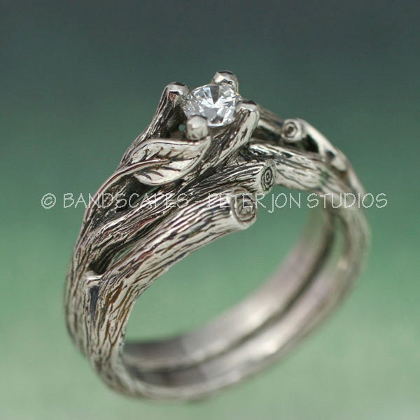 acadia wedding ring set twig engagement ring matching etsy