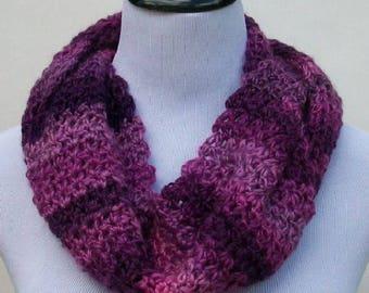 Purple Variegated Spring Summer Scarf, Handmade Scarf, Crochet Scarf, Spring Scarf, Summer Scarf