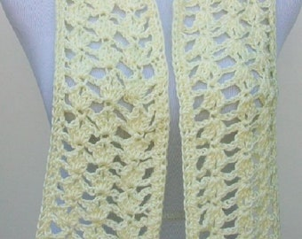 SALE! Spring Summer Crochet Scarf, Silky Crochet Scarf in Light Yellow with Open Lacy Pattern, Handmade Scarf, Crochet Lacy Pattern