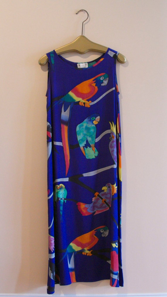 Bold Hand Painted Parrot Sheath Dress. Label SILKS