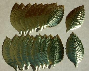 Gold Leaves, Paper/foil Cutouts, Japan Scrap book  Mixed Media Art