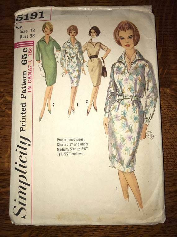 Simplicity  pattern #5198 Vintage Sewing Pattern Vintage 1960s sewing pattern